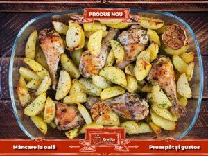 Ciocanele de pui si cartofi cu usturoi la cuptor
